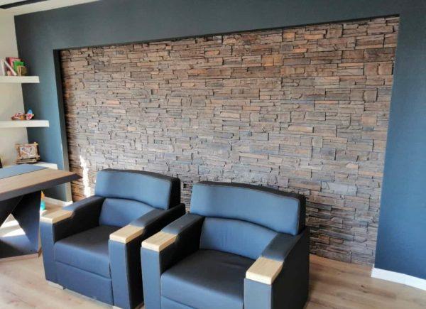 Mujica Marron Ofis içi Dekoratif Doğal Taş Duvar Kaplama Uygulaması